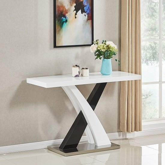 Amari Console Table In White And Black High Gloss