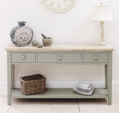 Elias Console Table - Sage Green - 3 Drawers