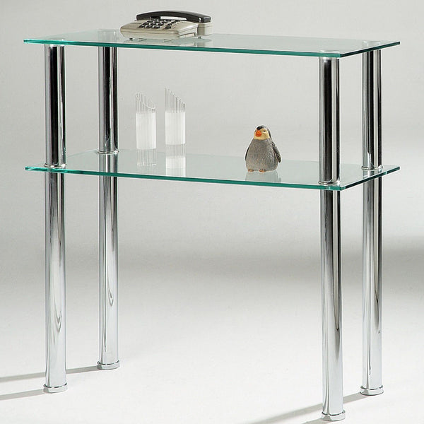 Bacarra Clear Glass Console Table – 2 Shelves – Chrome Finish