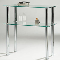 Bacarra Clear Glass & Chrome Console Table | CONSOLE TABLES UK