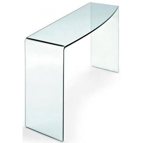 Esse Clear Glass Console Table - Curved End & Edge - Large