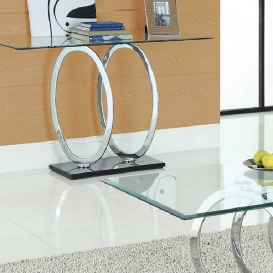 Yuma Clear Glass Console Table With Black Gloss Base