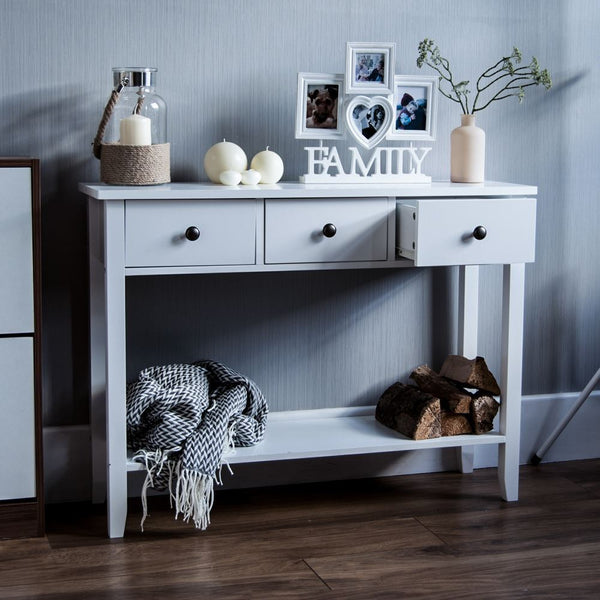 Berkshire Console Table - White - 3 Drawers