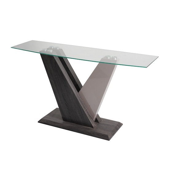 Ultimo Console Table - Dark Grey & Champagne High Gloss