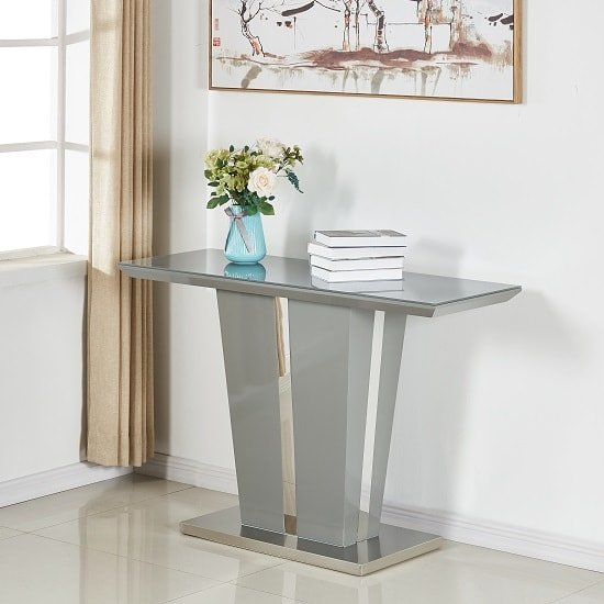 Sira Console Table In Grey High Gloss With Glass Top