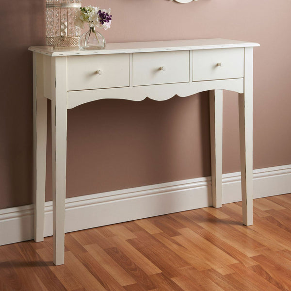 Chester Console Table - 3 Drawers - White