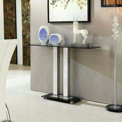 Eliora Black Glass Console Table Black & Chrome | BUY FROM CONSOLE TABLES UK | FREE DELIVERY UK MAINLAND