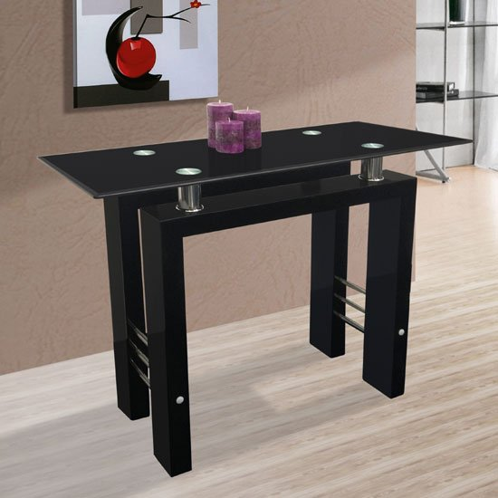 Gifford Console Table In Black Glass With Black High Gloss