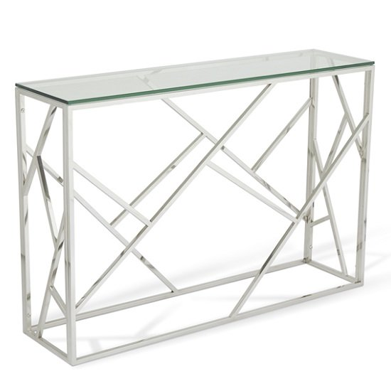 Jordyn Glass Console Table With Polished Stainless Steel Base