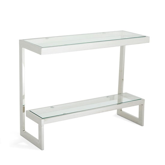 Carla Glass Console Table - Polished Stainless Steel