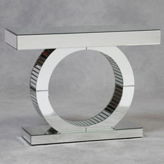 Duchess Mirrored Glass Console Table - Round Moon