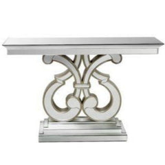 Contemporary Mirrored Glass Console Table - Double Curve