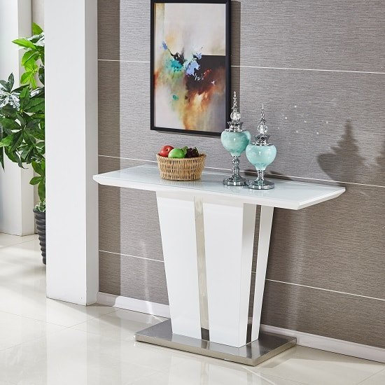 Sira Console Table In White High Gloss With Glass Top