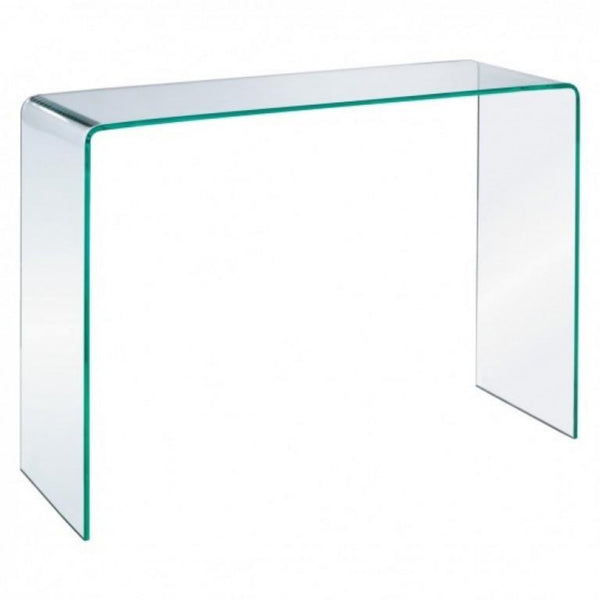 Esse Clear Glass Console Table - Curved End - Large