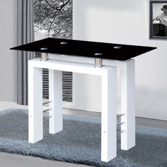 Gifford Console Table In Black Glass With White High Gloss