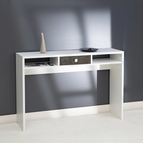 Arkim Console Table - 1 Drawer - White/Concrete