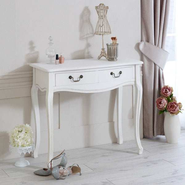 French Shabby Chic Console Table - White