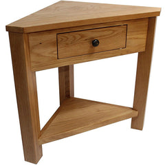 Atty Solid Oak Corner Console Table With 1 Drawer & 1 Lower Shelf | CONSOLE TABLES UK