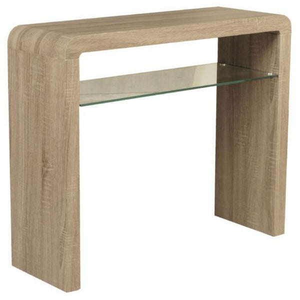 Cannon Clear Glass Shelf Console Table Oak