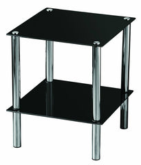 Modern Black Glass Console Table - Chrome Finish - 2-Tier