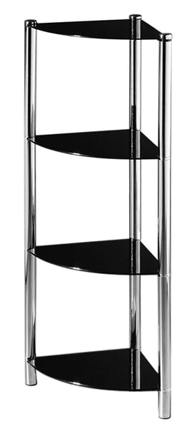 Modern Black Glass Console Table - Chrome Finish - 4-Tier Corner