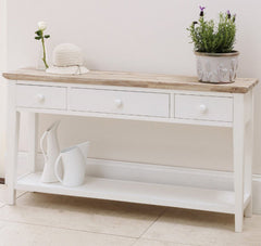 Elias Console Table - White - 3 Drawers