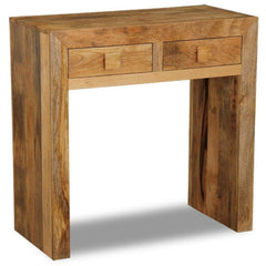 Panama Light Mango Wood Console Table With 2 Drawers | CONSOLE TABLES UK