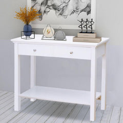 Kemp White Console Table With 2 Drawers & 1 Shelf | CONSOLE TABLES UK