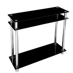 Modern Black Glass Console Table - Chrome Finish