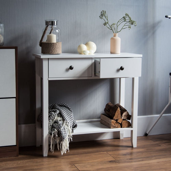 Berkshire Console Table - White - 2 Drawers