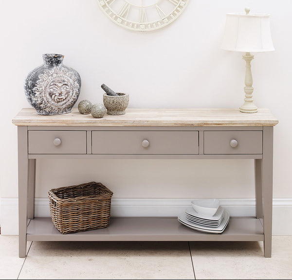 Elias Console Table - 3 Drawer - Dove Grey