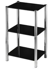 Modern Black Glass Console Table - Chrome Finish - 3-Tier