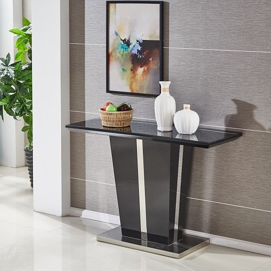 Sira Console Table In Black High Gloss With Glass Top