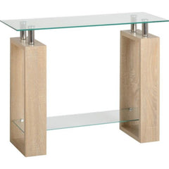 Romano Glass Console Table 1 Shelf Oak | Buy From CONSOLE TABLES UK | FREE DELIVERY UK Mainland