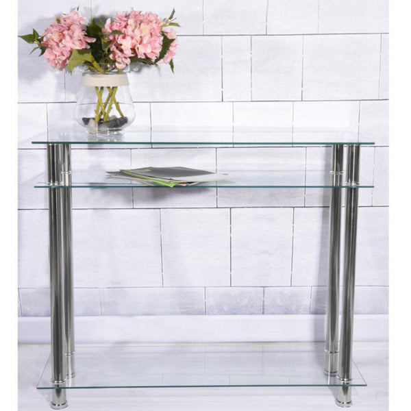 Moderna Clear Glass & Chrome Console Table – 3 Tier – Chrome
