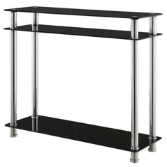 Mika Black Glass & Chrome Console Table With 3 Shelves/Tiers | CONSOLE TABLES UK