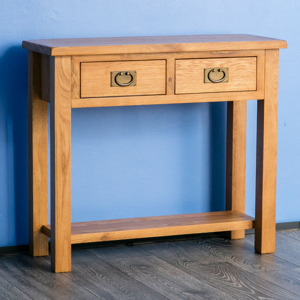 Sydney Solid Oak Console Table - 2 Drawer
