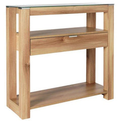 Henry Oak & Clear Glass Top Console Table With 1 Drawer & 2 Shelves | CONSOLE TABLES UK