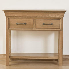 Lille French Style Solid Oak Console Table With 2 Drawers & 1 Lower Shelf | CONSOLE TABLES UK