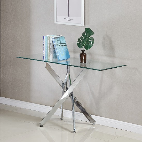 Rayleigh Glass Console Table Rectangular In Clear And Chrome Legs