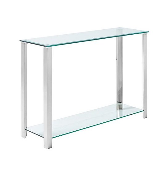Chehalis Glass Console Table In Clear With Silver Legs