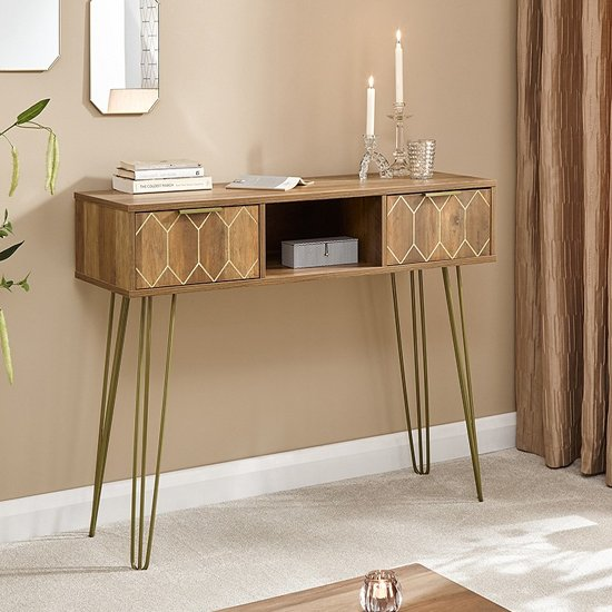 Lasne Console Table In Mango Wood Effect - 2 Drawers