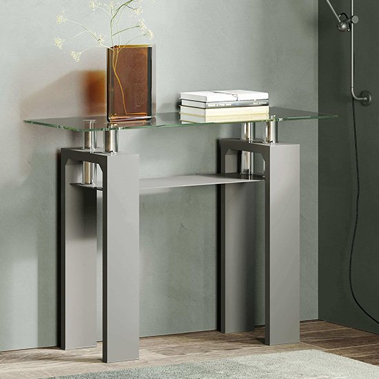 Vestal Glass Console Table In Clear With Grey High Gloss Legs