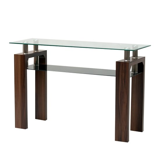 Kahina Glass Console Table with Walnut Legs