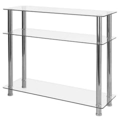 Carillo Clear Glass & Chrome Console Table With 3 Shelves/Tiers | CONSOLE TABLES UK