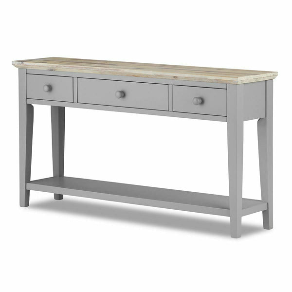 Elias Grey Console Table With Drawers Large