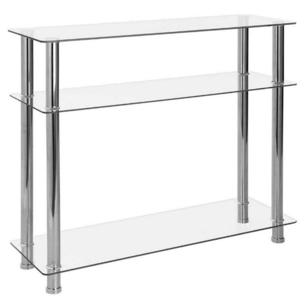 Carillo Clear Glass & Chrome Console Table