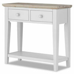 Elias White Wooden Console Table With 2 Drawers & 1 Lower Shelf | CONSOLE TABLES UK