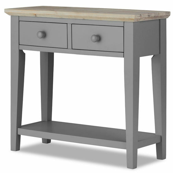 Elias Dove Grey Wooden Console Table With 2 Drawers