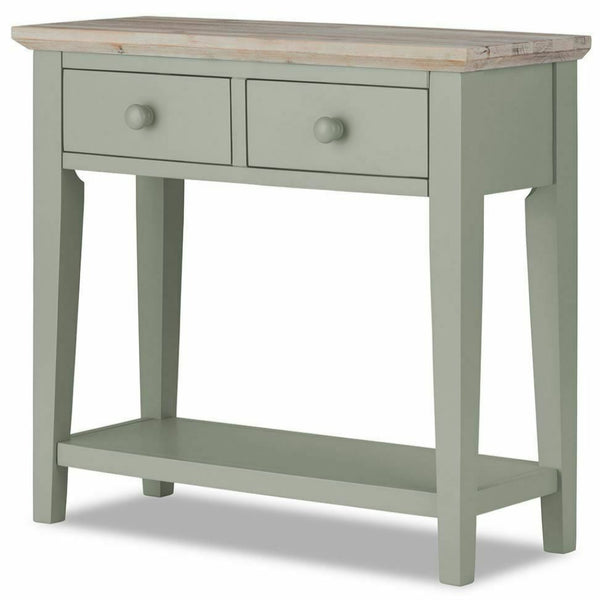 Elias Sage Green Wooden Console Table With 2 Drawers